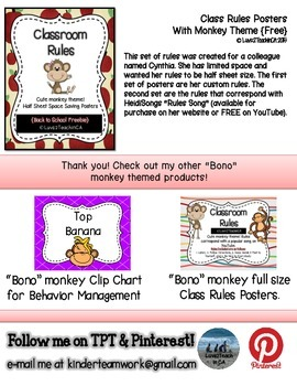Classroom Rules Posters - Half Sheet - Bono the Monkey {free}