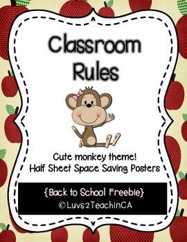 Classroom Rules Posters - Half Sheet - Bono the Monkey {free}