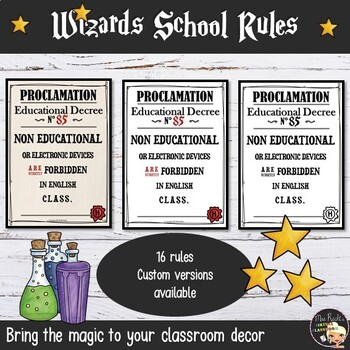 Classroom Rules Posters - Harry Potter Style