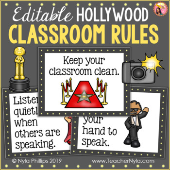 Hollywood Classroom Rules - Editable Posters