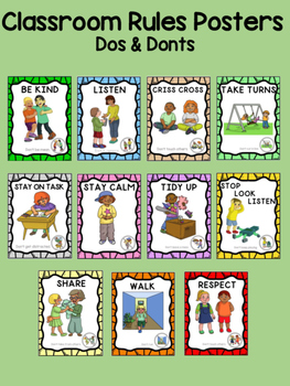 """Classroom Rules Posters  """"Dos & Donts""""  - editable to your"""