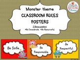 Classroom Rules Posters-Monster Theme