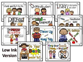 Classroom Rules Posters (POLKA DOTS EDITION+ No Color Background included)