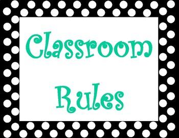Classroom Rules Posters - Polka Dot Border - Landscape