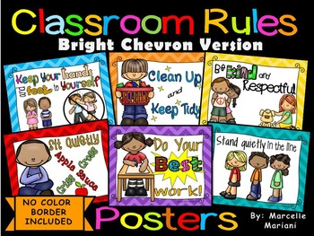 Classroom Rules Posters (CHEVRON EDITION+ No Color Backgro