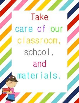 Classroom Rules Posters {Rainbow Border}