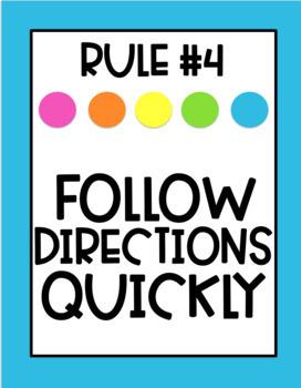 Classroom Rules Posters - Rainbow Dots (Editable)