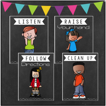 Classroom Rules Posters- Simple & Bright