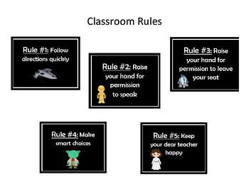 Whole Brain Teaching Classroom Rules Posters: Star Wars