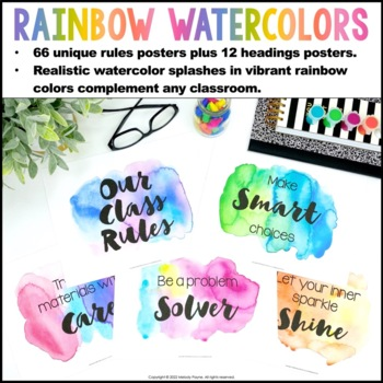 Watercolor Classroom Rules Posters {Realistic Watercolor Classroom Decor}