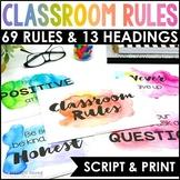 Watercolor Classroom Rules Posters {Realistic Watercolor Classroom Decor}