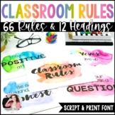 Watercolor Classroom Rules Posters: Script AND Print Fonts