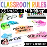 Watercolor Classroom Rules Posters {Realistic Watercolor C