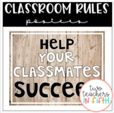 Classroom Rules Posters: Wood / Shabby Chic Theme