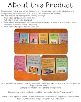 Classroom Rules Posters and Book *Colored Chalkboard and Real Life Photos!*