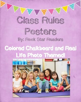Classroom Rules Posters and Book *Colored Chalkboard and R