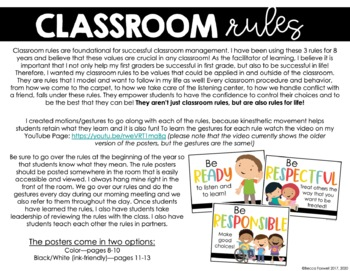 Classroom Rules - Posters and Gestures