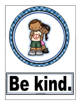 Classroom Rules Posters and Pennant Set Blue Plaid (Editable)