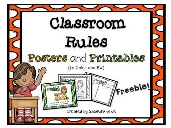 Classroom Rules Posters and Printables- Freebie!
