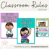 Classroom Rules Posters and Slips {Rainbow Theme}
