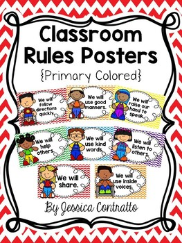 Classroom Rules {Primary Colors, Chevron}