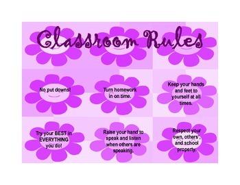 Classroom Rules - Purple Flower