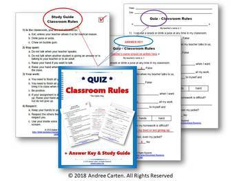 Classroom Rules QUIZ with Study Guide - Back to School, First Weeks, Notebook,