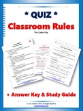 Classroom Rules QUIZ with Study Guide - Back to School, Fi