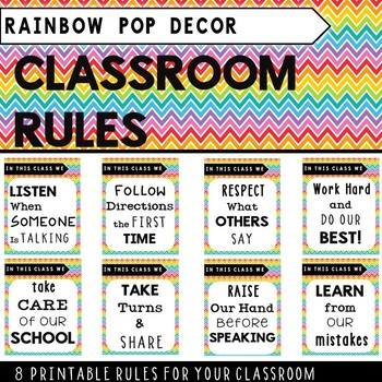 Classroom Rules Rainbow Pop Theme