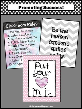 Classroom Rules Posters, Pink Back to School Decor, Inspirational Quotes