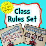 Classroom Rules Whimsical Red and Aqua - **Includes Two Ed