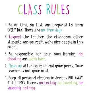 Classroom Rules Sign