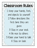 Classroom Rules Sign in Blue