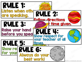Classroom Rules - Space Theme