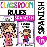 Classroom Rules-Purple Polka Dot Theme {SPANISH}