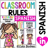 SPANISH Classroom Rules {Posters in Rainbow Polka Dots }