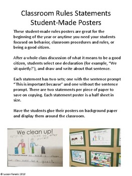Classroom Rules Statement Posters