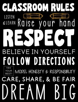 Subway Art Classroom Rules Poster - Black Printable Rules Poster