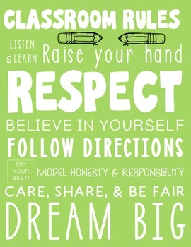 Subway Art Classroom Rules Poster - Lime Green Printable Rules Poster
