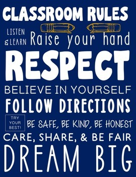 Classroom Rules Poster - Printable Subway Art Design in Navy Blue