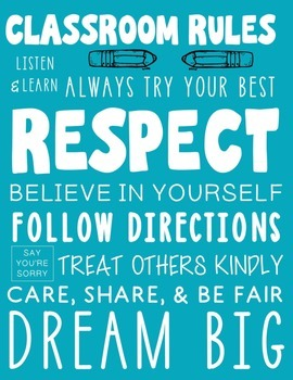 Subway Art Classroom Rules Poster - Turquoise Printable Rules Poster