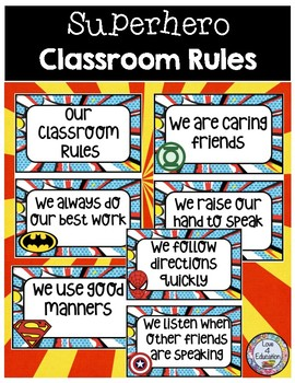 Classroom Rules Superhero Theme