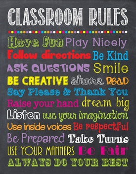 Classroom Rules Chalkboard Chalk It Up! Poster Sign Printable School Rules