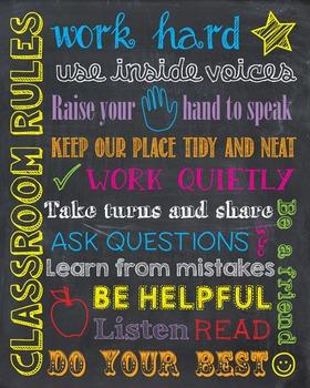 Classroom Rules Teacher Chalkboard Chalk Back to School First Day of School