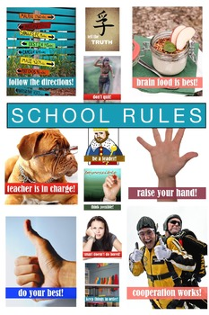 Classroom Rules Posters That ROCK - School Rules, Library, Motivational