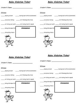 Classroom Rules Violations Ticket