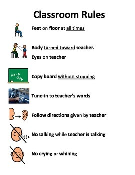 Classroom Rules Visual Aid