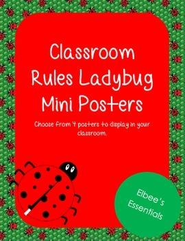 Classroom Rules - WBT Mini Posters (Ladybug Themed)