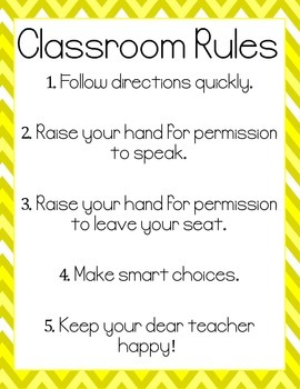 Classroom Rules - WBT Mini Posters (Yellow)