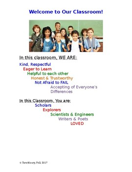 Classroom Rules & Welcome page